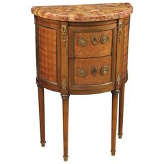 20th Century, French Inlaid Demilune Dresser in Louis XVI Style