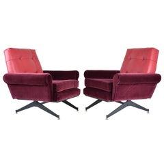 Pair of Italian Vintage Mid-Century Velvet Steel Armchairs, 1950's