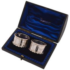 Pair of 20th Century George V Silver Napkin Rings in Case