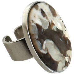 Georg Jensen Sterling Silver Ring #188A with Coffee or Creme Colored Stone