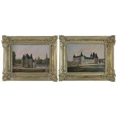 French Pair of Oil on Canvas 'Castel of Ô' Romantic Period, circa 1839-1840