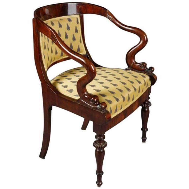 19th Century Biedermeier Style Dolphin Chair 1