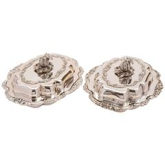 Pair of 19th Century Victorian Silver Plated Entree Dishes