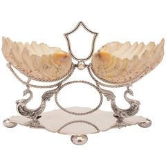 19th Century Victorian Shell and Silver Plated Centrepiece