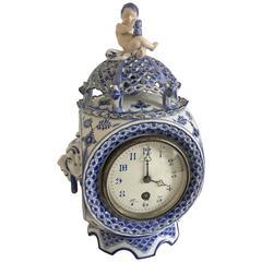 Royal Copenhagen Blue Fluted Full Lace Clock #1017