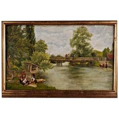 19th Century Painting Landscape with Children Playing