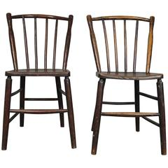 Pair of Early Ash and Beech Irish Country Spindle Back Dining Chairs