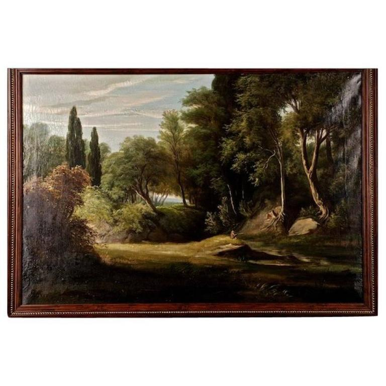 19th Century Painting Oil on Canvas Landscape For Sale