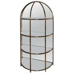 Cabinet Cage Mirror Design Solid Brass, 1970 , Mirror , Bar, Mid-Century Modern