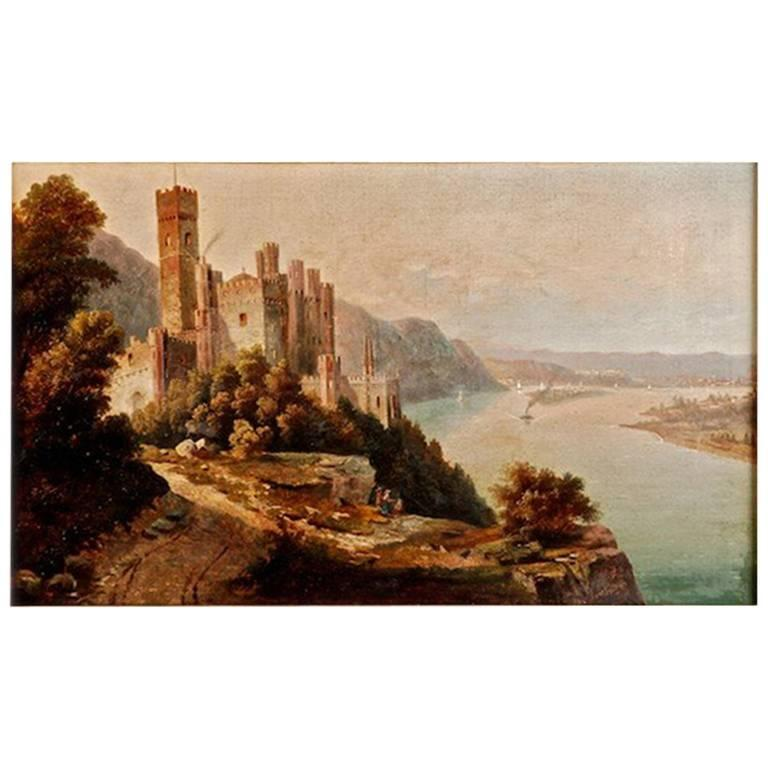 19th Century Oil Painting with Castle View