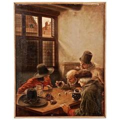 19th Century Oil Painting with Dice Player
