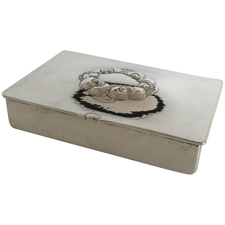 georg jensen sterling silver box or cigarette box 507a for sale at 1stdibs. Black Bedroom Furniture Sets. Home Design Ideas