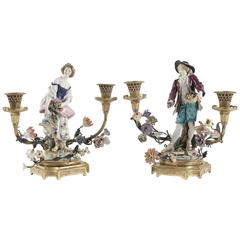 "Ormolu Mounted Ludwigsburg Polychrome Porcelain ""Young Woman & Young Man"""