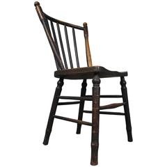 Early Irish Ash and Elm Stickback Dining Kitchen Chair