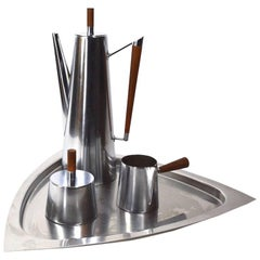 Four-Piece Kalmar Stainless Steel Coffee Set Made in Italy