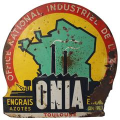 Vintage Industrial Enamel French Advertising Sign