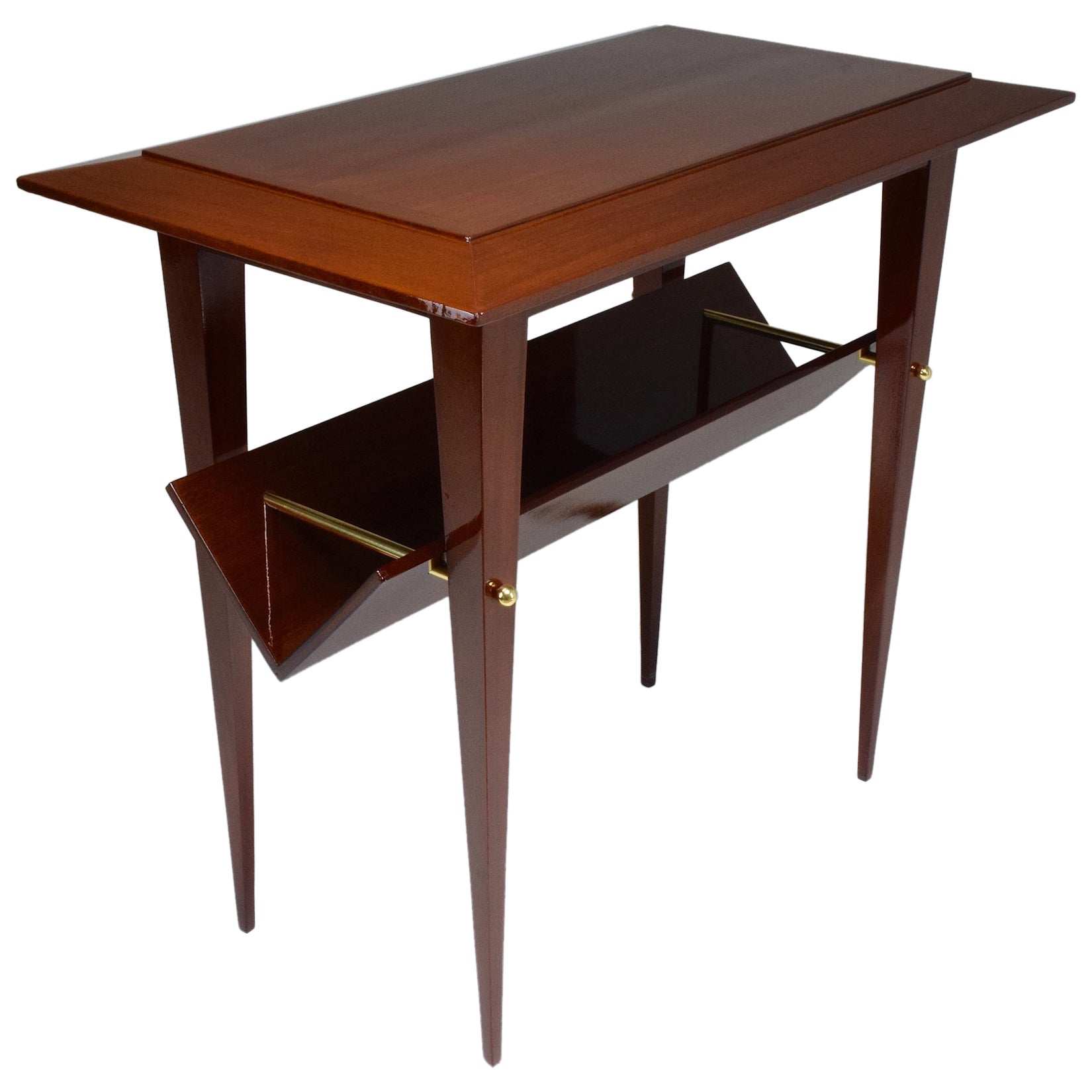 French Midcentury Mahogany Side Table Attributed to Raphael, 1950s