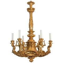Gilt Bronze Chandelier with Sculptures