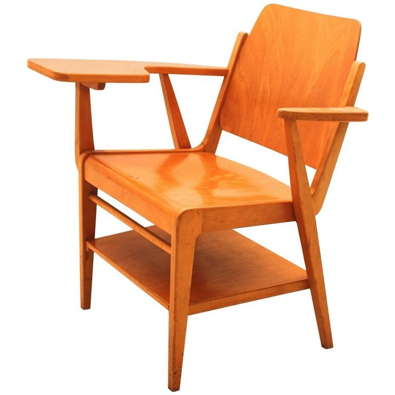Midcentury Modern  Brown Vintage Beechwood Chair by Franz Schuster, 1959 For Sale