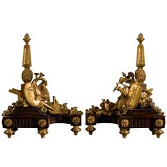 Pair of Louis XVI Style Andirons in Patinated and Gilt Bronze Decor