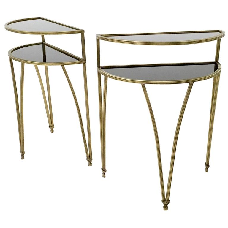 Pair of Brass and Opaline Glass Night Stands/Little Console Tables, Italy, 1950s