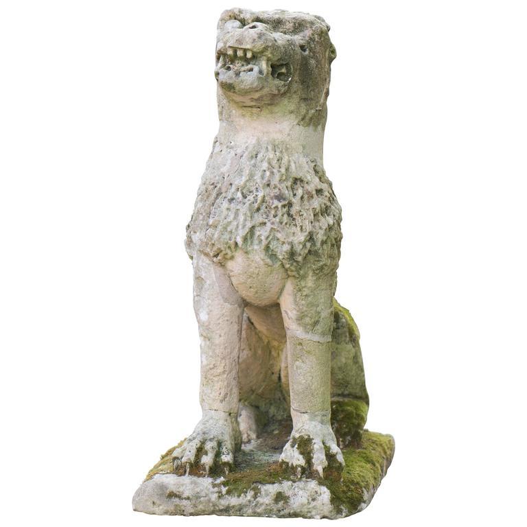 Old Garden Statue: Lion Antique Stone Garden Statue, 17th Century For Sale At