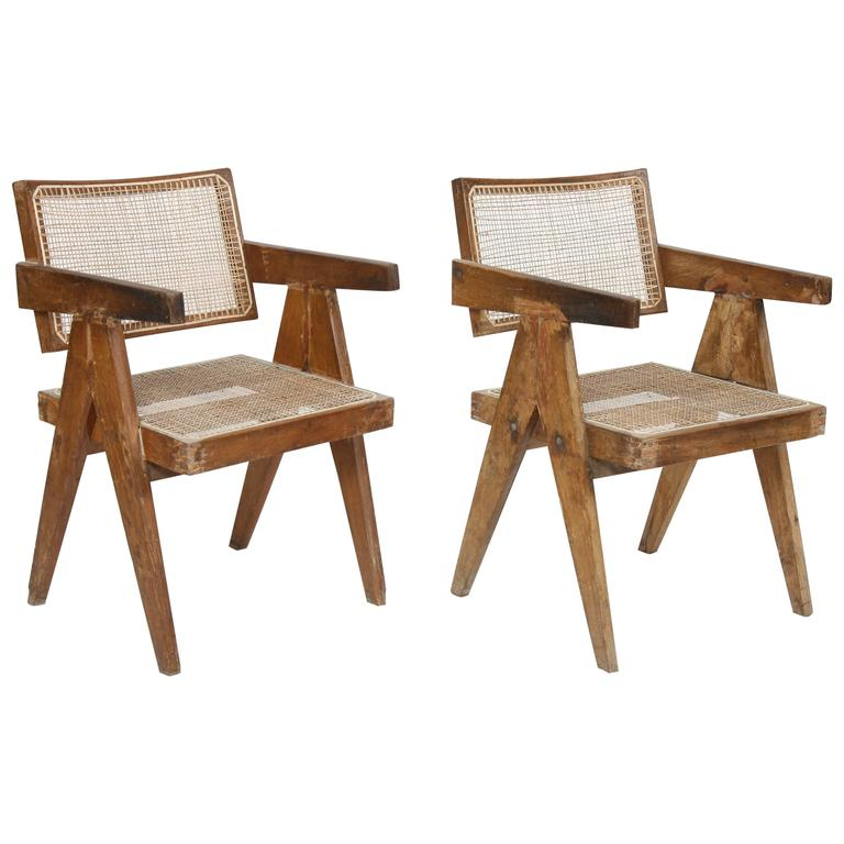 Pierre Jeanneret Set of Two Office Cane Elegant Chairs