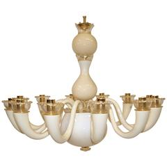 Gio Ponti 12-Arm Ivory and Gold-Plated Chandelier
