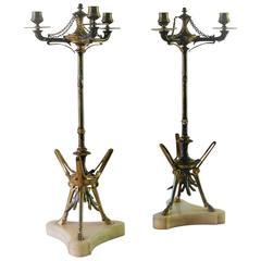 Pair of Victor Paillard Bronze Three-Light Antique Candelabra, circa 1870