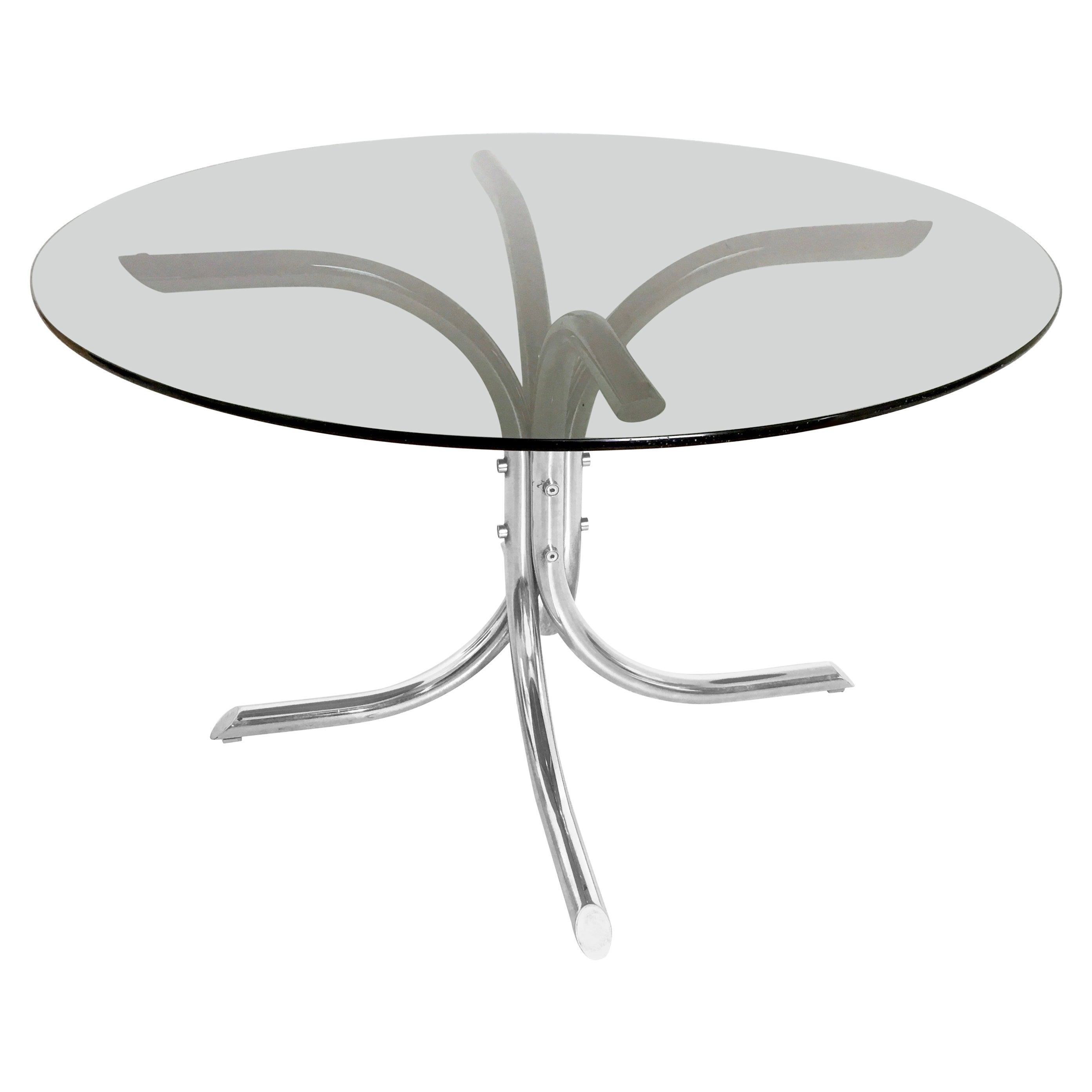 Chromed Metal and Smoked Glass Dining Table, Italy, 1970s