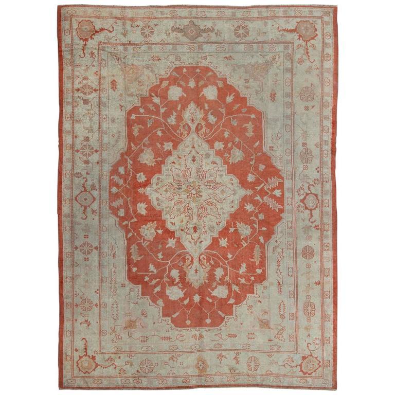Turkish Ground Rug: Antique Turkish Oushak Carpet With Red And Orange Ground