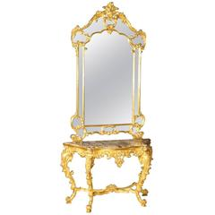 20th Century Gilded Console Table with Mirror in Louis XV Style