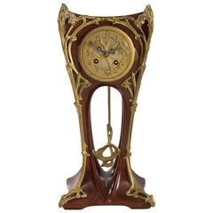 French Art Nouveau Mahogany Mantel Clock by Louis Majorelle
