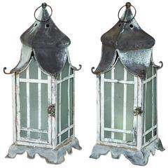 Pair of Square Verdigris Patinated Copper Lanterns