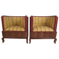 Pair of Vintage Barrel Back Italian Side Chairs