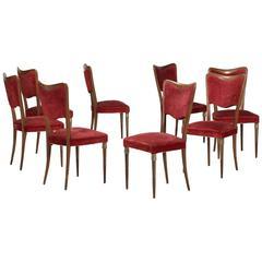 Osvaldo Borsani Dining Chairs Eight Original Velvet, 1940s Fully Restored