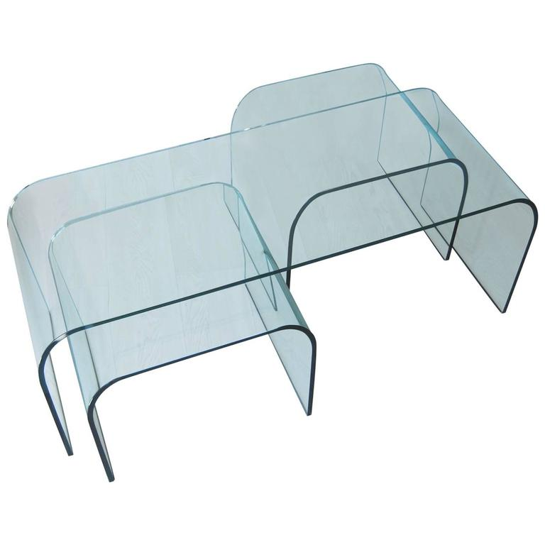 Exceptionnel Set Of 3 Italian Fiam Curved Crystal Glass Center, Nesting Table, 1980