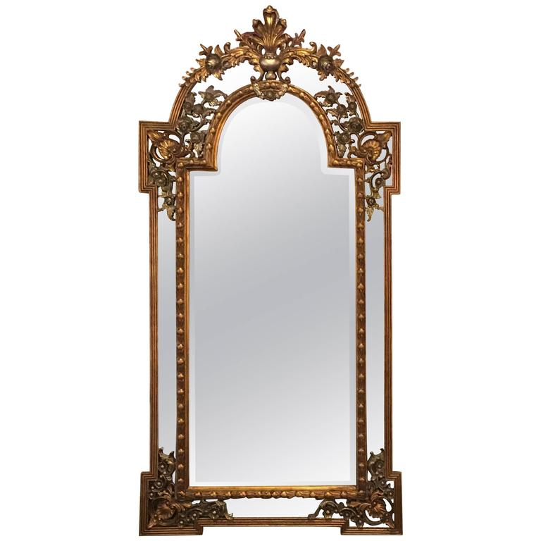 Monumental French Carved Floor or Console or Pier Mirror