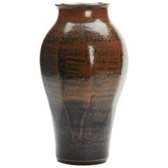 Vintage Ken Halsall Tenmoku Glazed Studio Vase 20th Century