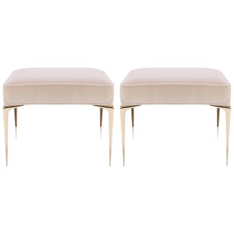 Colette Brass Ottomans in Nude Velvet by Montage, Pair