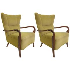 Pair of Wingback Lounge Chairs by Guglielmo Ulrich, Italy, 1940