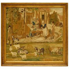 19th Century Needlepoint in Giltwood Frame, circa 1850