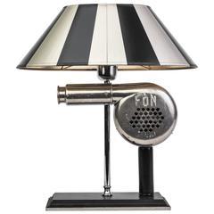 Impressive 1940s Art Deco Chrome Table Lamp with Sculptural Antique Hair Dryer