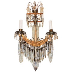 Wonderful Petite Baltic Bronze Crystal 4-Arm Chandelier Pendent Regency Fixture