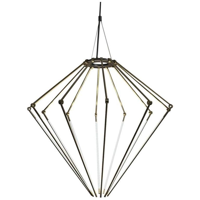 Contemporary Brass Chandelier Model T with 1/2 Inch Thin Adjustable Led Arms For Sale
