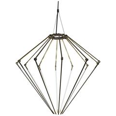 Contemporary Brass Chandelier with 1/2 Inch Thin Adjustable Led Arms