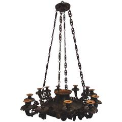 English Hammered Brass Chandelier