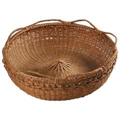 Large Native American Round Splint Basket with Open-Coiled Handles