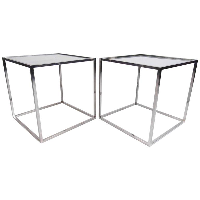 Pair of Milo Baughman Chrome and Glass End Tables