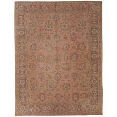 Antique Turkish Oushak Carpet with Paisley Motifs in Lavender and Green